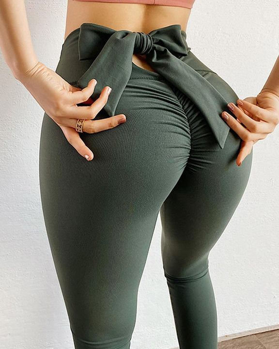 Ruched Bow Tie Back Sports Leggings gallery 3