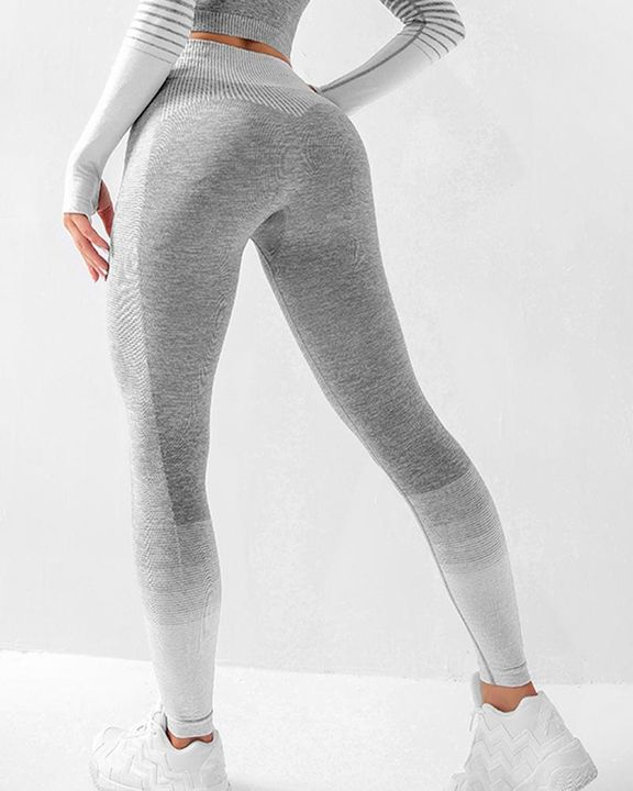 Striped Butt Lifting Breathable Seamless Sports Leggings gallery 7