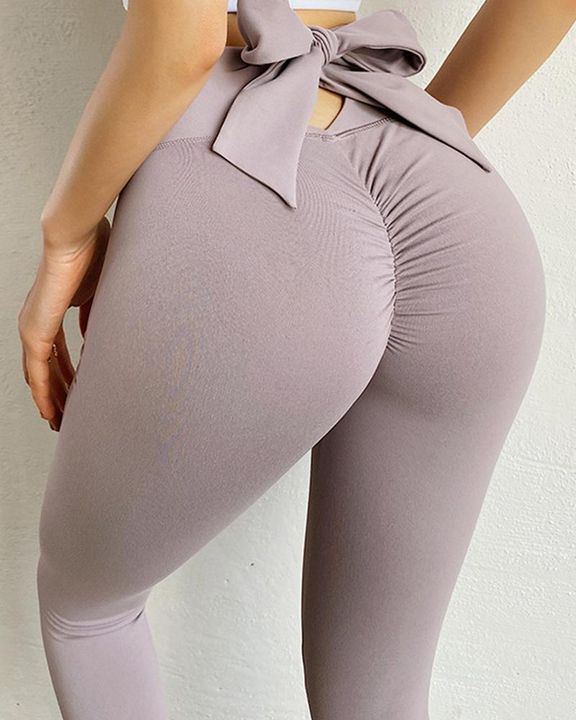 Ruched Bow Tie Back Sports Leggings gallery 2