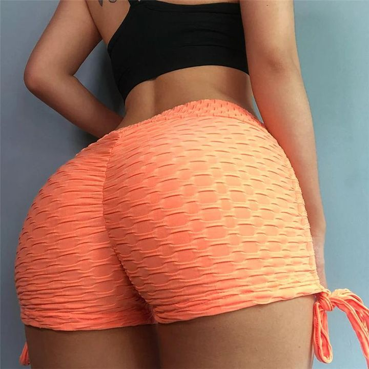 Solid Textured Tie Side Butt Lifting Shorts gallery 3