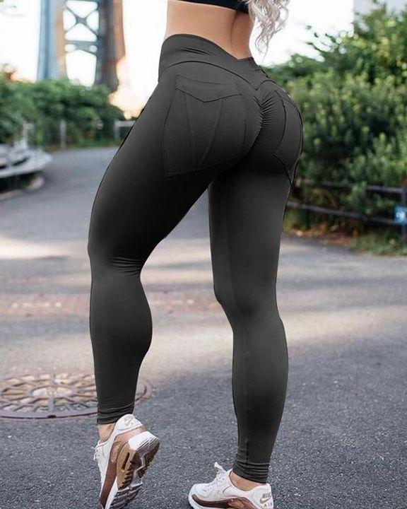Pocket Back Ruched Chevron Waist Sports Leggings gallery 1