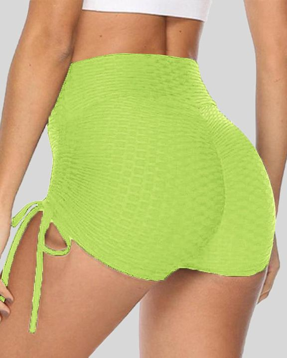 Solid Ruched Tie Side Butt Lifting Shorts gallery 10
